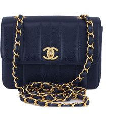 Pre-Owned Chanel Vintage Caviar Navy Blue Mademoiselle Classic Mini... ($2,799) ❤ liked on Polyvore featuring bags, handbags, chanel, navy blue, chain strap purse, vintage purses, chanel handbags, genuine leather handbags and quilted leather purse