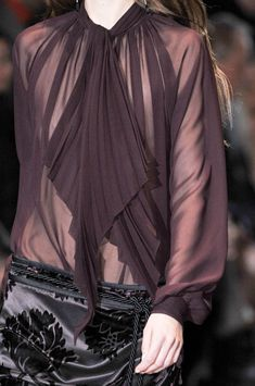 Gucci Fall 2012 elegant & sexy sheer blouse in plum-cant go wrong, a great staple item for your wardrobe worth spending the extra money since you will be wearing this blouse years to come with any work outfit you may already have I. Your wardrobe