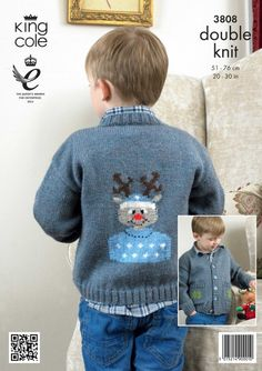Childrens Christmas jumper pattern Rudolph Jumper - King Cole Christmas Knitting