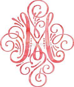 Monogram M Watercolor Typography sticker  @redbubble #junkydotcom Aug 3 2016