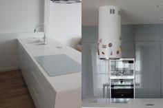 Wykonaliśmy kuchnię która jednocześnie oddziela pralnię od reszty pokoju. Taka medoda pozwala zaoszczędzić czas zyskać dodatkową przestrzeń użytkową z tyłu jest duży pawlacz, jednocześnie jest tańsza w wykonaniu. White and grey new minimal style kitchen with korian worktop.Blum Tandembox drawer