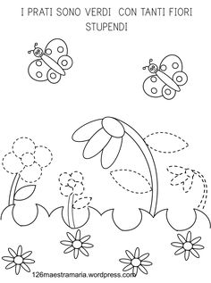 Disegni per la primavera. Poesia. pregrafismo Mamma, Drawing For Kids, Preschool, Dads, Printables, Education, Spring, Drawings, Color