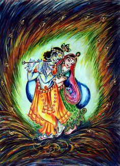 Original Radha Krishna Divine Lovers Painting enhanced with Swarovski Crystals. Contact me if you have any question, Contact me  harshlata_malik@yahoo.com