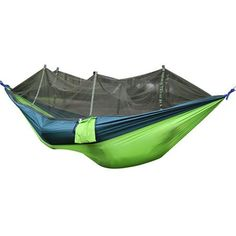 Grey Blue Aesthetic Appearance Energetic Cycle Zone 260*140cm Outdoor Polyester Fabric Hammock With Mosquito Net