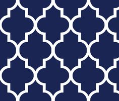 Privacy Screen//Classic Navy and White Quatrefoil fabric by willowlanetextiles on Spoonflower - custom fabric Stencil Patterns, Stencil Designs, Pattern Art, Blue Wallpaper Bedroom, Cushion Fabric, Cushion Pillow, Thai Pattern, Blue Wallpapers, Border Design