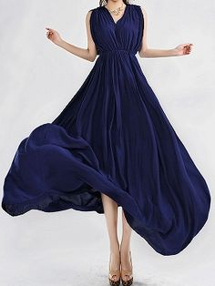 Shop Blue Low-Cut Backless Maxi Dress With Double V Neck from choies.com .Free shipping Worldwide.$22.99