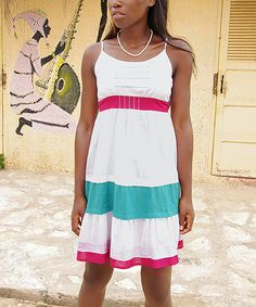 Take a look at this White Color Block Sleeveless Dress by Aller Simplement on #zulily today!