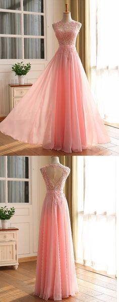 Pink Appliques Sleeveless A-line Chiffon Prom Dresses 2017