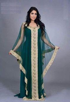 Green and Gold Dubai Style Moroccan women kaftan - Summer Dresses Moroccan Kaftan Dress, Long Kaftan Dress, Kaftan Gown, Sheer Dress, Hijab Dress, Abaya Designs, Arabic Dress, Mode Glamour, Abaya Fashion
