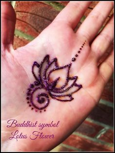 Henna lotus flower with glitter