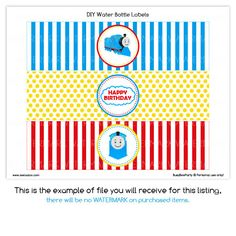 PRINTABLE Water Bottle Labels DIY - Choo Choo Thomas The Train Birthday Party - PS507g. $5.00, via Etsy.