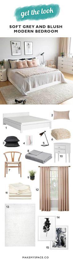 home decor modern grey and blush bedroom Interior Room Decoration, Diy Home Decor Bedroom, Room Ideas Bedroom, Small Room Bedroom, Trendy Bedroom, Small Rooms, Bedroom Girls, Master Bedrooms, Bedroom Designs
