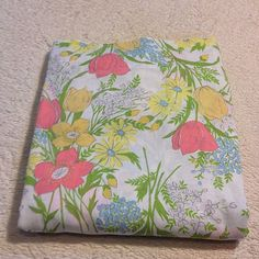 VTG Full Flat Bed Sheet Dan River Muslin Retro Colorful Floral Mod Garden Flower #DanRiverDantrel