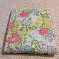 VTG Full Flat Bed Sheet Dan River Muslin Retro Colorful Floral Mod Garden Flower #DanRiverDantrel