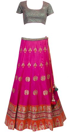 Fuschia lehenga set with gota work available only at Pernia's Pop-up shop.