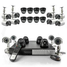 24 Camera Surveillance Set - 12 Indoor Dome Cameras, 12 Outdoor Cameras, H264 Compression DVR with 1TB HDD     $1199.99