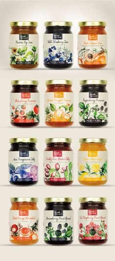 Lovely illustrations with a fine colour scheme, combined with a script font, create an old-fashioned but absolutely appealing packaging for these marmelade-vendor. Honey Packaging, Fruit Packaging, Food Packaging Design, Bottle Packaging, Packaging Design Inspiration, Food Design, Jam Label, New Fruit, Fruit Juice