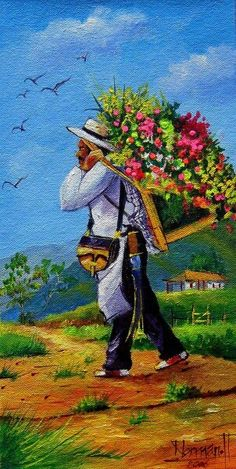 Una obra de arte del artista Norman Hernandez en honor a los silleteros de Santa Elena. Mexican Artwork, Mexican Paintings, Mexican Folk Art, Diego Rivera Art, Arte Latina, Watercolor Paintings Nature, Colombian Art, Paper Collage Art, Caribbean Art
