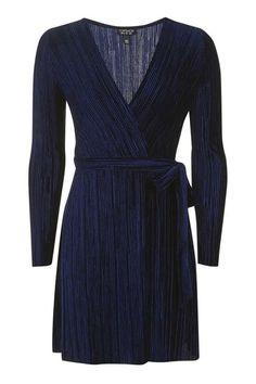 Velvet Plisse Wrap Mini Dress