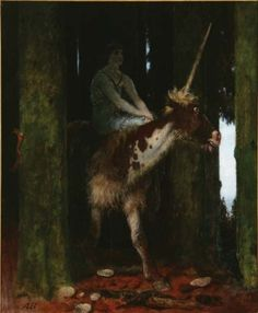 Arnold Böcklin, Silence of the Forest, 1885.    Oil on wood panel, 73 × 58.5 cm (28¾ × 23¼ in). The National Museum in Poznan.