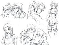 Attack on titan levi en mujer Ereri, Levihan, Eren Y Levi, Attack On Titan Anime, Female Eren, Anime Couples Drawings, Gender Swap, Naruto Funny, Fandom