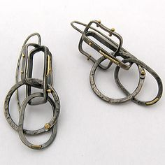 Earrings | Nichole Collins.  Oxidized sterling silver and 18k gold.