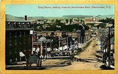 Sherbrooke Quebec Canada 1908 Town King Street Trolley Antique Vintage Postcard
