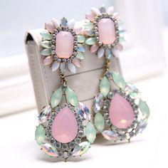 Fashion Accessories Crystal Gem Drop Dangle Earrings Jewelry Bohemian Colorful Big Statement Earrings Women Gift