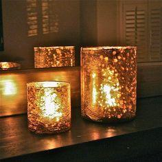 two golden mercury glass tealight holders by london garden trading   notonthehighstreet.com