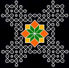 15 -15 parallel dots (Neer Pulli) Kolam. After finishing the kolam, erase the remaining dots.