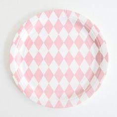 Pink Diamonds Paper Plates Pkt 8 - baby shower, bridal shower, girls 1st birthday, girls birthday, sweet 16, engagement party (($))