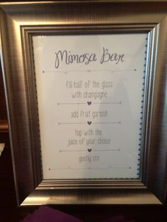 Mimosa bar sign good work @jmongo14
