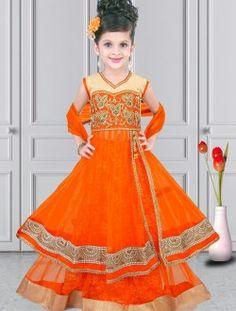 Pristine Orange Net Designer Kids Wear Lehenga Choli
