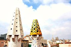 From the roof of Palau Güell,here you can see the colored chimneys, Barcelona. Barcelona Tourism, Gaudi, Architecture, Building, Modern, Travel, Arquitetura, Trendy Tree, Buildings
