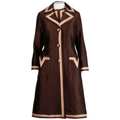 Stunning 1960s Vintage Silk   Wool Pink and Brown Striped Coat   Dress Ensemble   From a collection of rare vintage suits, outfits and ensembles at https://www.1stdibs.com/fashion/clothing/suits-outfits-ensembles/