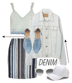 """Denim, Denim and more Denim !!"" by kateo ❤ liked on Polyvore featuring River Island, Sea, New York, TOMS, Denimondenim and 5620"