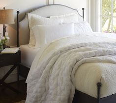 Aberdeen Bed | Pottery Barn - Padded headboard with iron frame