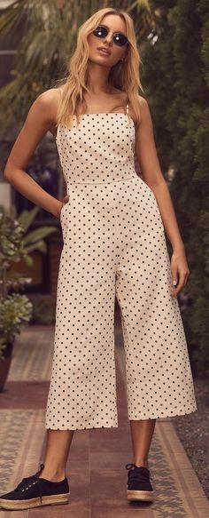 San Clemente Black and Cream Polka Dot Culotte Jumpsuit 5 Casual Outfits, Summer Outfits, Cute Outfits, Fashion Outfits, Rompers Women, Jumpsuits For Women, Clothes For Women In 20's, Crochet Romper, Cotton Jumpsuit