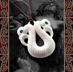 New Zealand Maori Bone Pekapeka / Manaia (with Paua Shell) - Maori Bone Pendant - Bone Necklace - Tribal Pendant - Bone Carving Kiwiana, Paua Shell, Mamma Mia, Bone Carving, Tribal Necklace, Pendant Jewelry, New Zealand, Jewelry Ideas, Lamb