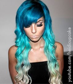 Go for a striking mermaid blue ombre hair… Omg. Go for a striking mermaid blue ombre hair do. OMG sooo obessed with ourOMG, I just love hair! Teal Hair, Bright Hair, Green Hair, Turquoise Hair, Black Hair, Ombré Hair, Dye My Hair, Love Hair, Gorgeous Hair