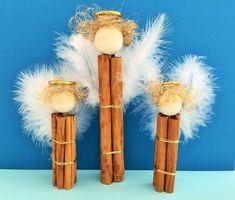 Advents- & Weihnachts-DIY-Projekt: Engel aus Zimtstengeln basteln mit Kindern - einfach & schnell Cinnamon angels for the Advent and Christmas season: You can make fragrant and beautiful cinnamon ange Angel Ornaments, Diy Christmas Ornaments, Christmas Projects, Holiday Crafts, Christmas Time, Christmas Decorations, Christmas Nativity, Christmas Angels, Kids Crafts