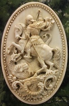 Antique Cameos: old victorian, shell, coral and hardstone cameos, St George slaying the dragon