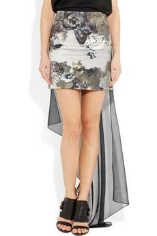 Aminaka Wilmont - Printed Chiffon & Stretch-Cotton Mini Skirt