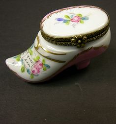 French Limoges Miniature Hand Painted Porcelain High Heel Shoe Box