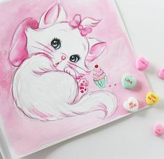 Let them eat cake! Oh my gosh, this one was so fun! Sweet little illustration done with acrylics and colored pencil I referenced an illustration on a handbag from Tokyo! #marie #disney #aristocats