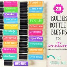 Roller bottle recipes {FREE printable labels} for calm, focus, grounding, balance, gratitude, happy, energy, motivation, confidence & more
