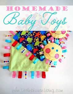 Homemade Baby Toys | LittleHouseLiving.com | A 'baby essential' today: the comfort blanket, soother, or cuddle blanket. It will most likely be baby's favorite plaything, often going everywhere with them. You'll probably struggle to get this one in the wash, unless you can make several and swap them out. You could try making different types - a quiet snuggle version, and a more active play version with crinkle lining. Here's how to make them!