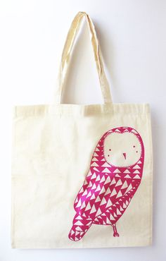 Featuring a pink, screen-printed owl, the Owl Tote Bag by Gingiber is the perfect cotton bag for carrying books or groceries. Whether you're a kid or a proud, owl-loving adult, this bag is sure to cause a flap wherever you go. Crazy Owl, Stamp Carving, Owl Crafts, Pink Owl, Owl Art, Cute Owl, Textiles, Screen Printing, Purses And Bags