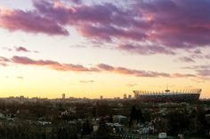 Pink clouds and sunset over Stadion Narodowy.