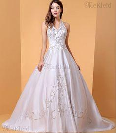 Gesticktes ärmellos Duchesse-Linie Nackenband luxus Brautkleid mit Kapelle Schleppe - Bild 1